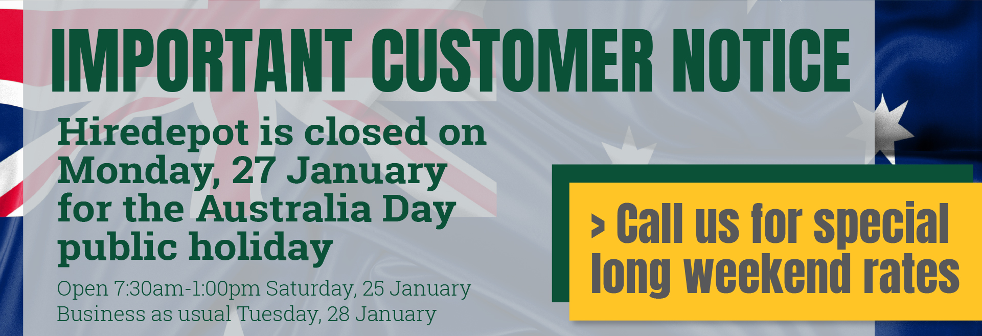 Important customer notice - Australia Day closure