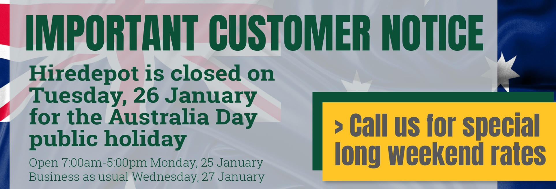 Important customer notice - Australia Day 2021