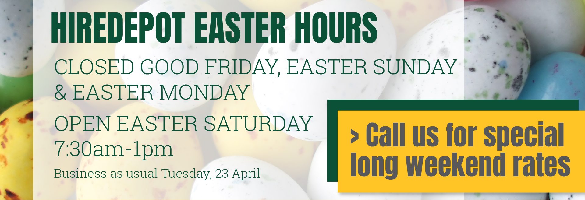 Web banner - Easter hours 2019