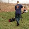 Power broom in use - turf