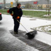 Power broom in use - snow