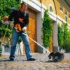 Power broom in use - cleaning